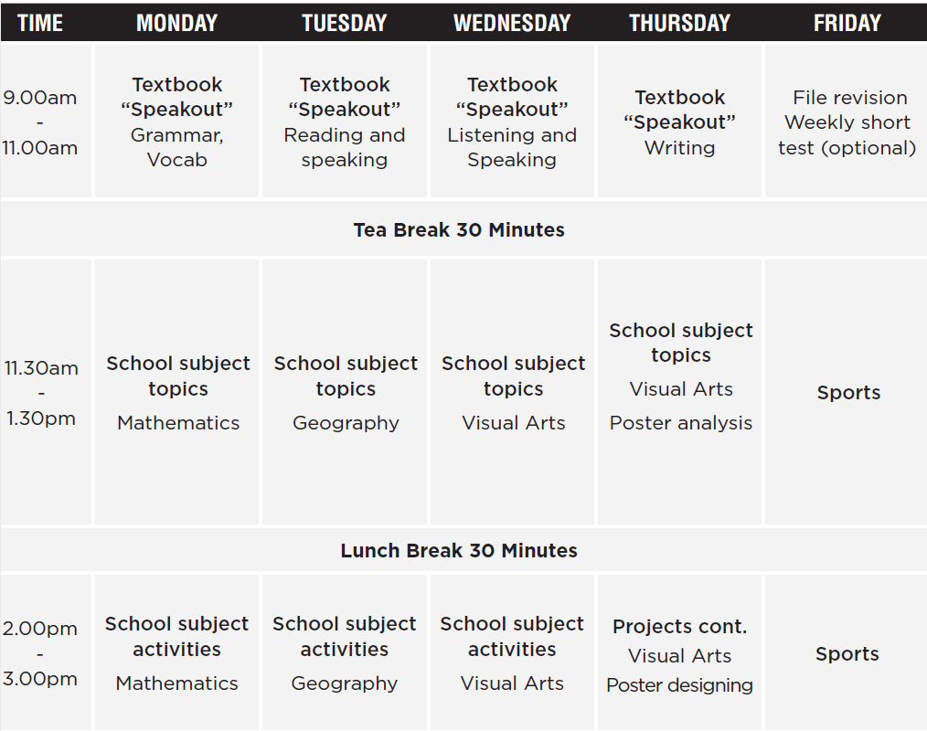 timetable for High School Preparation Course
