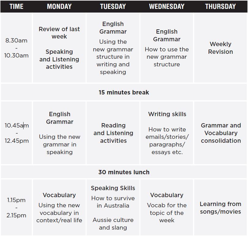 Timetable of English Language Programs 2018-11-26